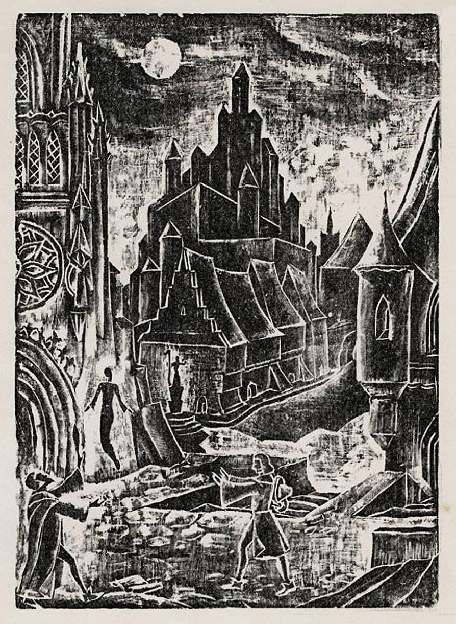 Еміль Кунке. Місто незрячих, 1930; дереворит