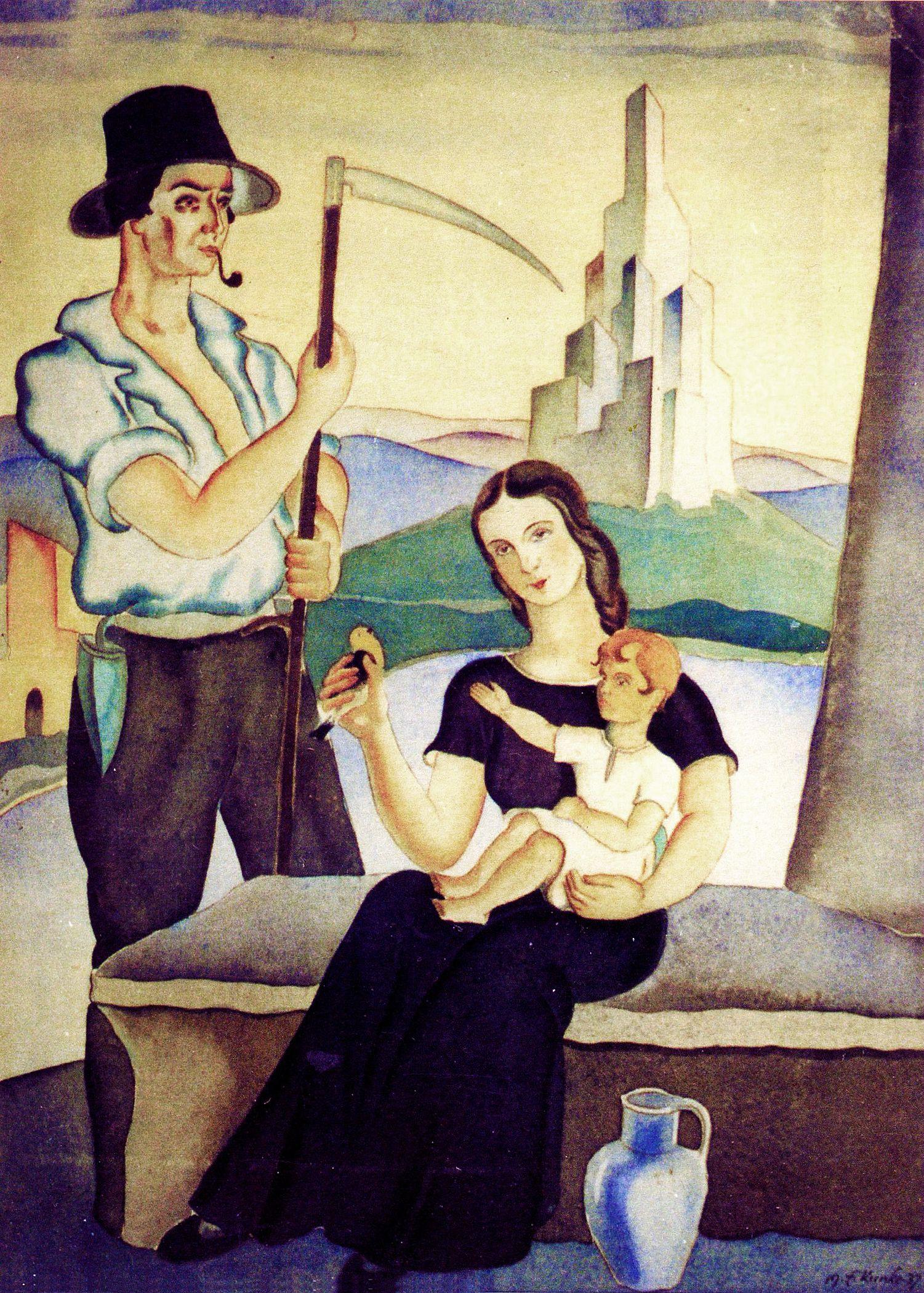 Еміль Кунке. Родина, 1937; папір, акварель; приватна збірка